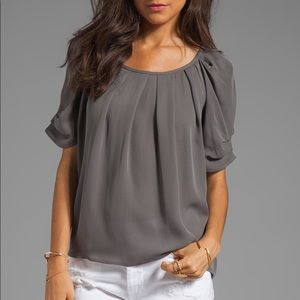 Mauve Joie Eleanor Matte silk blouse in Steel